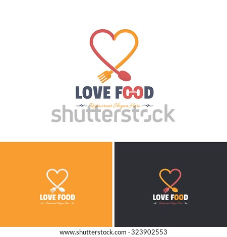 Love Food and Heart Vector Icons, Logos, Sign, Symbol Template