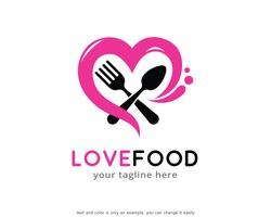 Love Food Logo Template Design Vector, Emblem, Concept Design, Creative Symbol, Icon