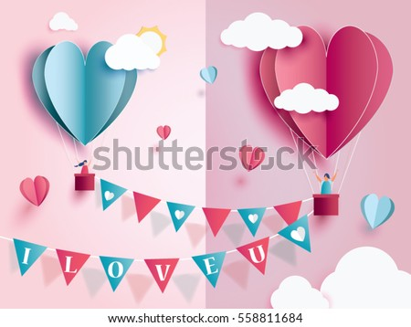 love for Valentine's day. and young joyful couple in pink balloons heart on pink background with text love and mini heart. design for valentine's festival .Vector illustration.paper craft style. #558811684