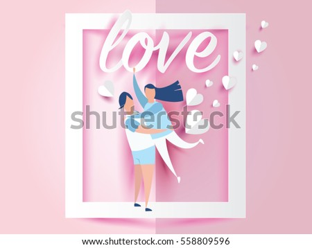 love for Valentine's day. and young joyful couple on window abstract pink background with text love and mini heart. design for valentine's festival .Vector illustration.paper craft style.