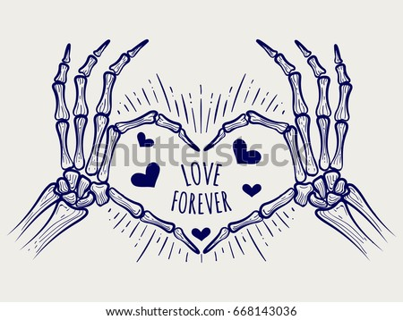 Vector Hand Drawn Skeleton Hands And Hearts