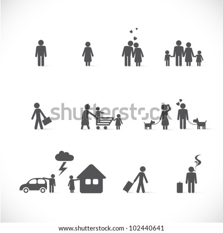 love from beginning to end - little story (singles, couple, family in different life situations - figure set)