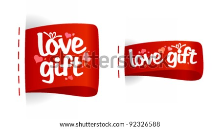 Love gifts Valentine day labels with hearts.