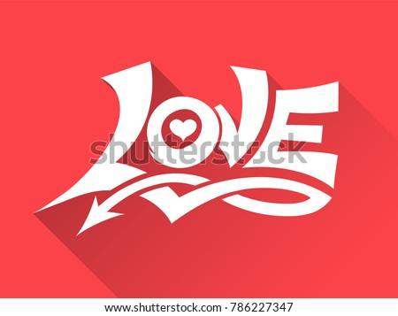 Love graffiti style with arrow. Vector illustration for love concept wedding and valentine.