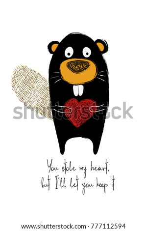 love greeting card with cute