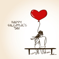 Love greeting card with embracing couple sitting on a bench and holding heart air balloon