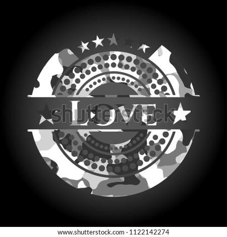 love grey camouflaged emblem