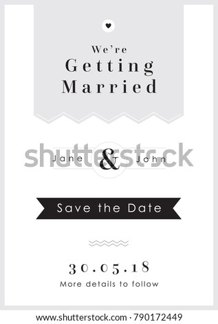 Love Grey Tag theme - Wedding Set - Save the Date