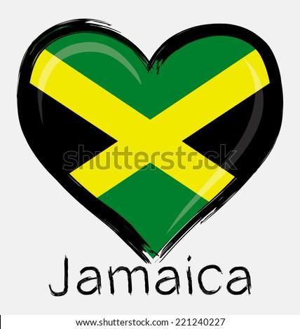 love grunge of jamaica flag