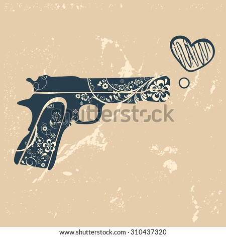 love gun vintage emblem with