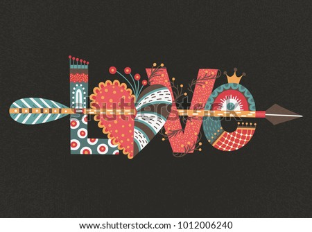 Love. Hand drawn lettering. Happy Valentine's Day. Heart with arrow. Freehand style. Doodle. Holiday in February. Valentine card, postcard, banner, poster, print on clothes. Vector illustration, eps10