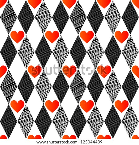Love harlequin seamless background with rhombus and hearts