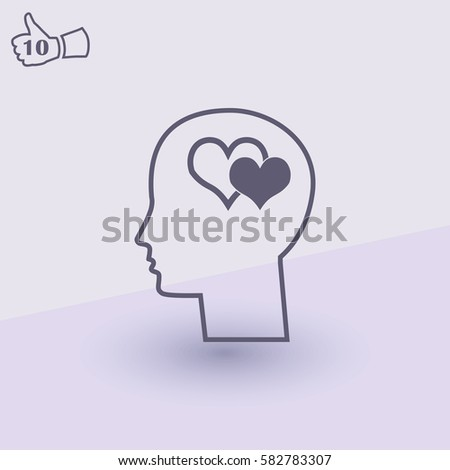 love head brain vector icon