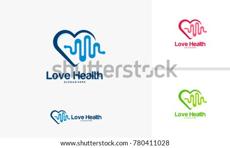 Love Health logo designs concept, Health logo designs template, Hearth Health logo
