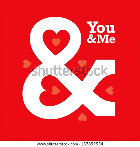 love heart ampersand typography