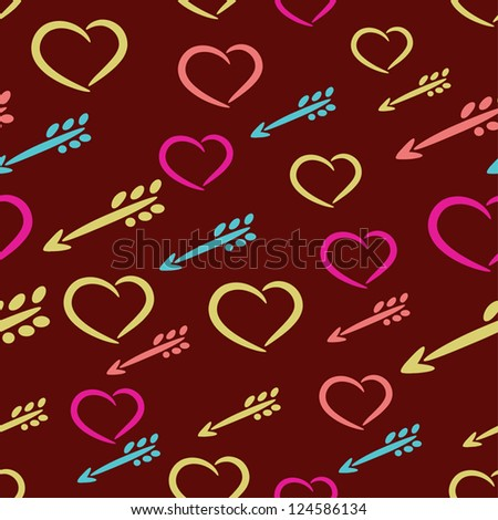 love heart arrow seamlessly tiling romantic pattern background