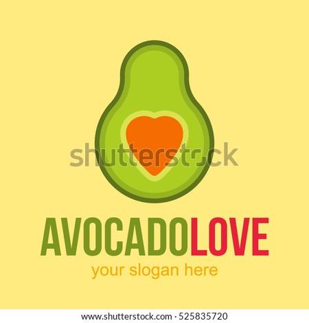 LOVE HEART AVOCADO VECTOR LOGO ICON