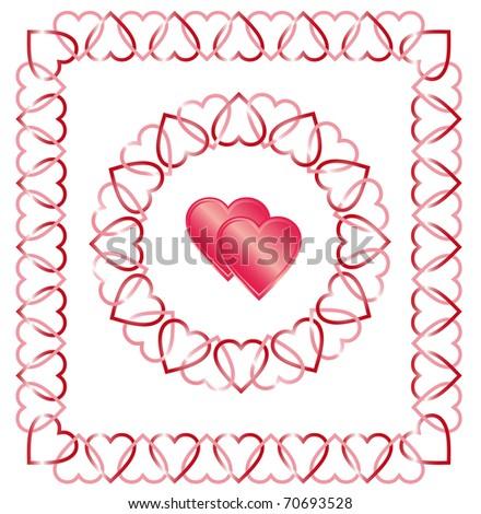 love heart borders. stock vector : Love Heart Border, Frame, Corner, Center designs