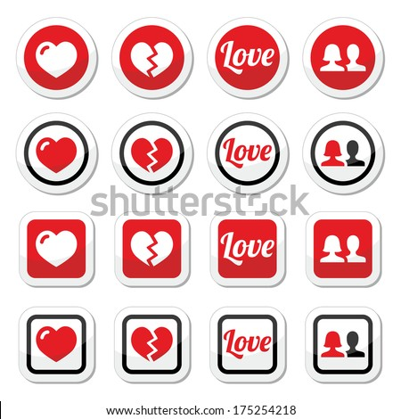 love  heart  couple icons for