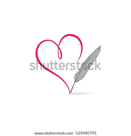 love heart  drawn by feather