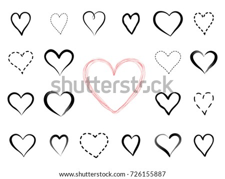 Love heart drawn icon set. Valentine's holiday greeting signs