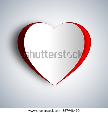 Love Heart from paper cut style, Valentines day card vector background