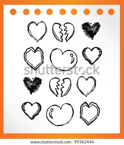 love heart hand drawn for couple- vector illustration
