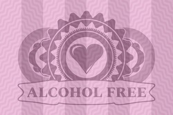 Love heart icon and Alcohol Free text pink wavy realistic badge. Curve fashionable background. Intense illustration.