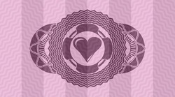 Love heart icon inside pink wavy realistic emblem. Curve luxurious background. Artistic illustration.