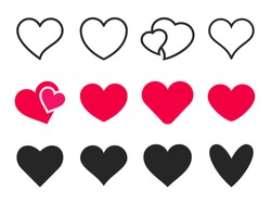 Love heart icon. Loving hearts, red like and lovely romance outline symbols. Valentine lovely passion hearted emotional drawn or valentines day loving postcards vector isolated icons set