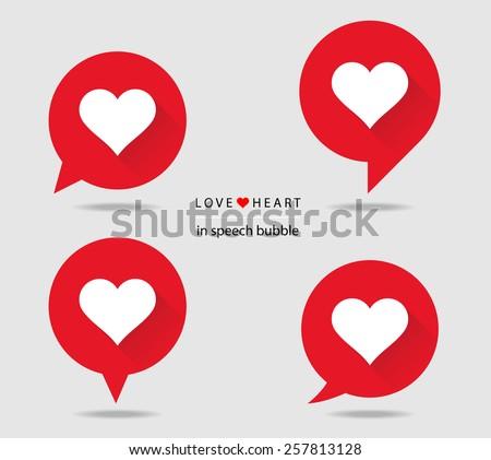 love heart in speech bubble