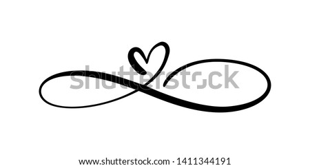 Love heart In the sign of infinity. Sign on postcard to Valentines day, wedding print. Vector calligraphy and lettering illustration isolated on a white background stock photo
