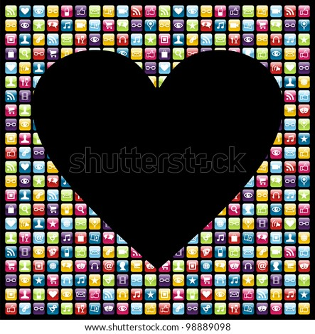 Love heart shape over phone application software icon set background. Vector file layered for easy manipulation and customisation.