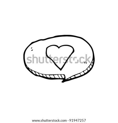 love heart speech bubble cartoon