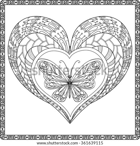 Royalty-free Love Heart with butterfly. Coloring… #361639094 Stock ...