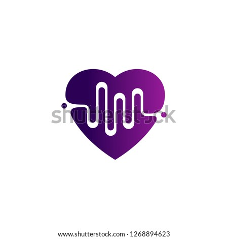 Love Heart with pulse logo vector, elements and symbols, template - Vector