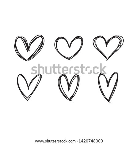 Love hearts doodles. Hand drawn heart icon doodle collection. Valentine's day and romance symbol.