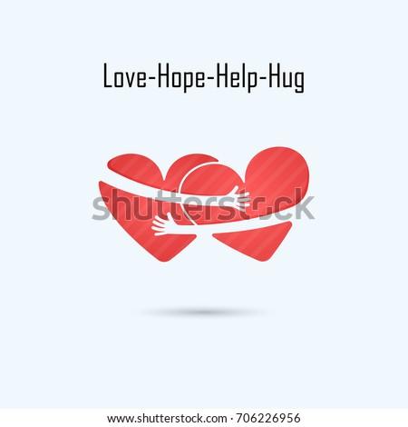 LOVE-HOPE-HELP-HUG vector logo design template.Aid & love icon.Wedding logo.Bridegroom & Bride icon idea concept.Vector illustration