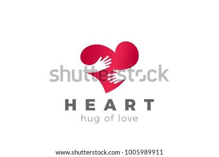 Love Hug Heart Logo design vector template. Valentines Day Embrace symbol concept icon.