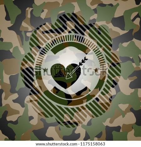 love icon inside camouflaged