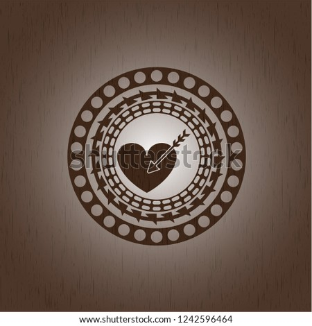 love icon inside realistic wooden emblem #1242596464