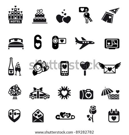 Love icon set, valentine's day symbols