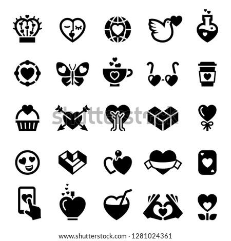 love icons set  black color