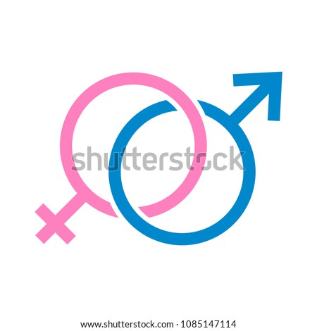 love illustration of male and female sex symbol on isolated white background - romantic concept sign