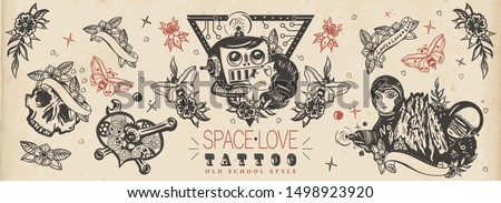 Love in outer space. Lovers. Kissing robot, girl astronaut, mechanical heart, Mars mountains. Retro futuristic old school tattoo collection. Vintage sci-fi movie funny art. Traditional tattooing style