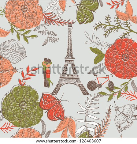 love in paris greeting card