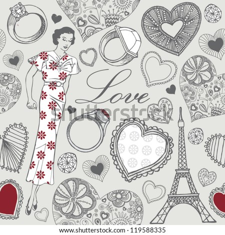Love in Paris. St. Valentine's Day card