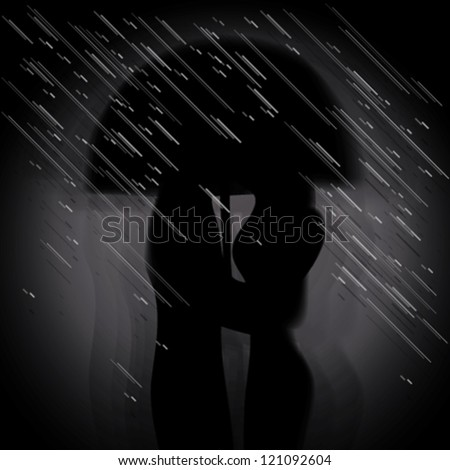 love in the rain   silhouette