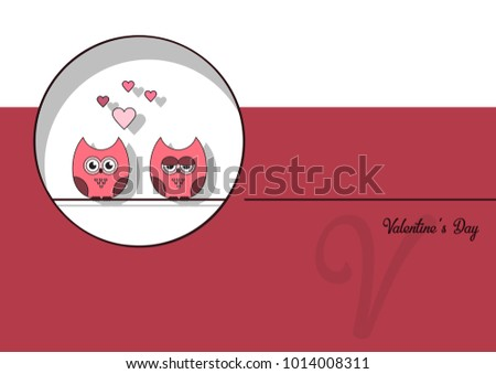 Owls valentine card vector download vetores e grficos gratuitos love invitation card valentines day abstract background paper cut mini heart cut pink owls stopboris Choice Image