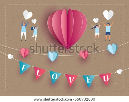 love Invitation card Valentine's day abstract background with text i love u and young joyful,clouds,paper cut pink heart. Vector illustration.